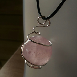 Silver Wrapped Rose Quartz