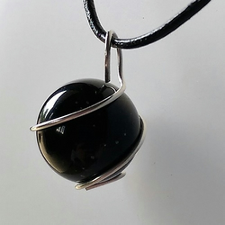Silver Wrapped Obsidian Pendant