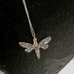 Fine silver patterned dragon fly necklace