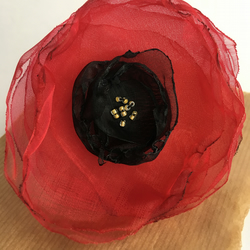 Organza Poppy brooch