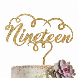 Nineteen 19 Cake Topper GLITTER GOLD Party Decoration