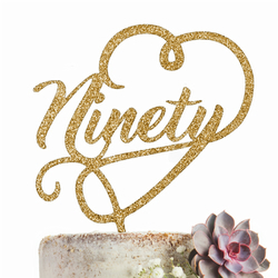 Ninety Cake Topper Party Decoration GLITTER GOLD