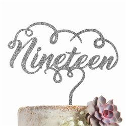 Nineteen 19 Cake Topper GLITTER SILVER Party Decoration