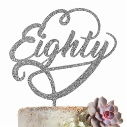 Eighty 80 Cake Topper GLITTER SILVER Party Decoration