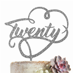 Twenty 20 Cake Topper GLITTER SILVER Party Decoration