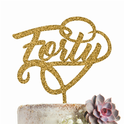 Forty  40 Cake Topper GLITTER GOLD Party Decoration