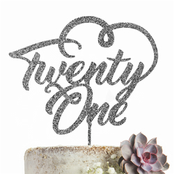 Twenty One 21 Cake Topper Party Decoration GLITTER SILVER