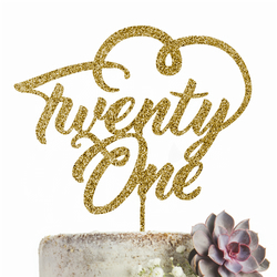 Twenty One 21 Cake Topper Party Decoration GLITTER GOLD