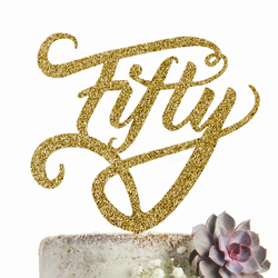Fifty Cake Topper Party Decoration GLITTER GOLD