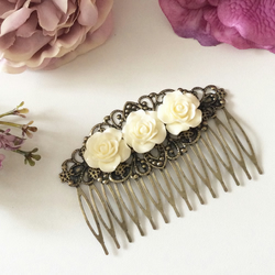 Vintage Style Hair comb Hair accessories Wedding Bridal Cream Rose