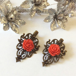 Vintage style Bronze Crocodile Hair clip Red Rose Flower Wedding Bridal Bohemian