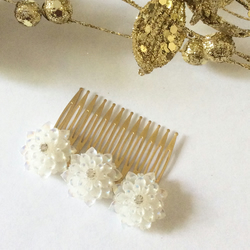 Bridal Hair Comb Vintage Antique Style Filigree Gold Comb Dahlia Hair