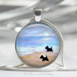 Scottish Terriers Scotties on a Beach Art Pendant Necklace