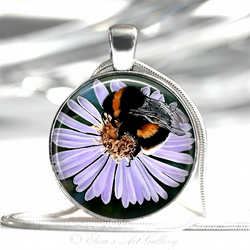 Silver Plated Bee on Flower Art Pendant Necklace
