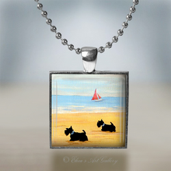 Silver Plated Scottish Terriers on a Beach Art Pendant Necklace