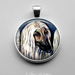 Silver Plated Afghan Hound Dog Art Pendant