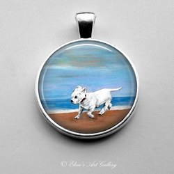 Silver Plated West Highland Terrier Dog Art Pendant