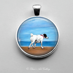 Silver Plated Smooth Fox Terrier Dog Art Pendant
