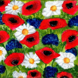 Original Poppies Cornflowers and Daisies Art Acrylic Painting