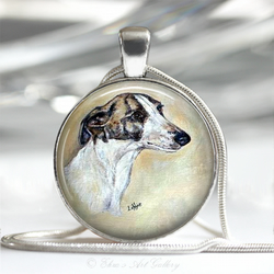Silver Plated Greyhound Dog Art Pendant Necklace