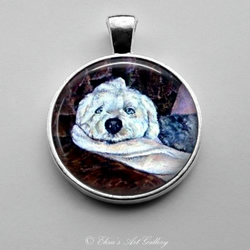Silver Plated Old English Sheepdog Art Pendant