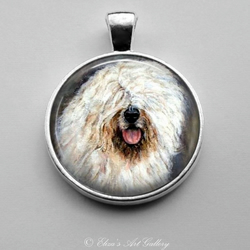 Silver Plated Old English Sheepdog OES Art Pendant
