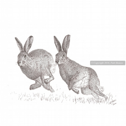 Two Running Hares Print, Giclee Hare Print