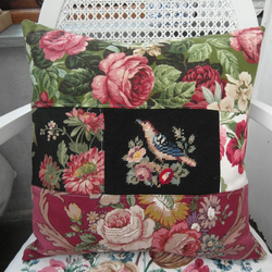OOAK Patchwork Bird and Rose Cushion Vintage Fabrics