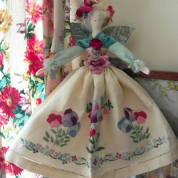 OOAK Flower Fairy - Pansy Collectable Doll Vintage Fabrics