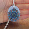 Ottoman Inspired Floral Oval Ceramic Pendant on Grey Cord with Lobster Clasp