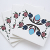4 x Ottoman Inspired Pomegranate Pattern Ceramic Tile Coasters with Cork Backing