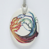 Fire and Water Elements Design Ceramic Pendant on Grey Cord with Lobster Clasp