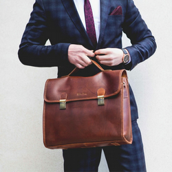 Leather briefcase with shoulder strap in Coffee  - Waring by Niche Lane