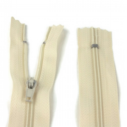 "Nylon Zip - 10"" (25cm) - Cream"