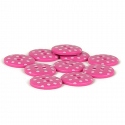 Pink Polka Dot Button (pack of 5) - size 24 (15mm)