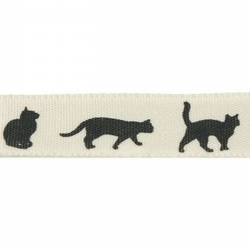 Cats Ribbon - Natural - 15mm
