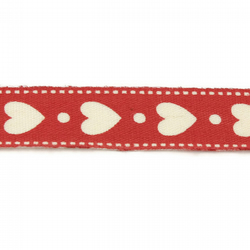 White Hearts on Red Ribbon - 15mm