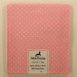 Quick Cuts - Cotton Poplin - Baby Pink with White Spots - Fat Quarter