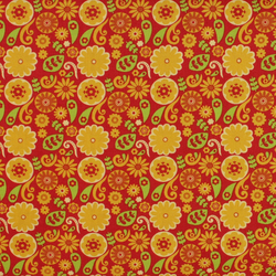 Fabric Freedom - Funky Flowers - Orange on Red - Fat Quarter