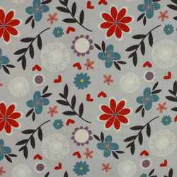 Fabric Freedom - Retro Floral - Red & Teal Flowers on Light Grey - Fat Quarter