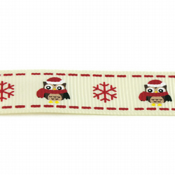Christmas Ribbon - Owls & Snowflakes - 16mm