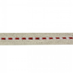 Linen Ribbon - Red Stripe - 15mm