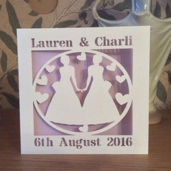 Gay Wedding Card - Bride and Bride Card  - Mrs and Mrs -Papercut - Personalised