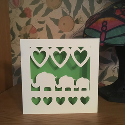 Papercut - Elephants and Hearts Card