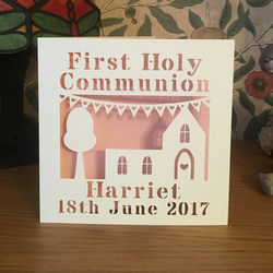 Personalised First Holy Communion Card with Church and Bunting - 1st Communion