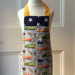 Child's Apron - Trains & Stars Age 2-4
