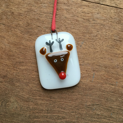 Fused Glass Reindeer hanging decoration