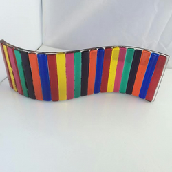 Fused glass rainbow wave