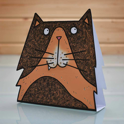 3D Cat Card - cat greeting card, cat birthday card, popup blank inside card