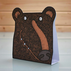 3D Black Bear Card - popup blank inside bear greeting card, brown bear, grizzly